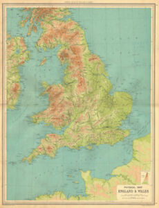 Large Map Of England.England And Wales Physical Map Mountains Elevation Large