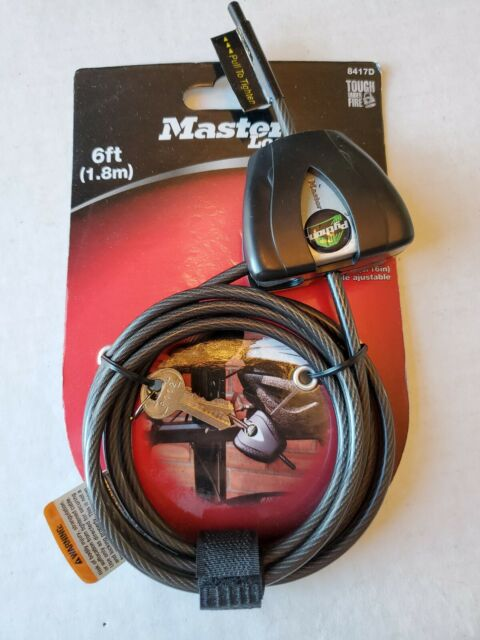 6 ft Long Master Lock 8417D Python Keyed Cable Lock Black