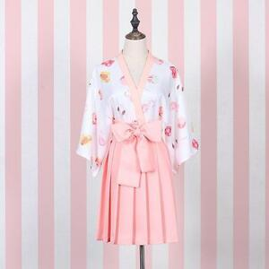 Lolita-Girl-039-s-Pink-WhiteFruits-Print-Dress-Robes-Kimono-Cute-2-Colors-Summer