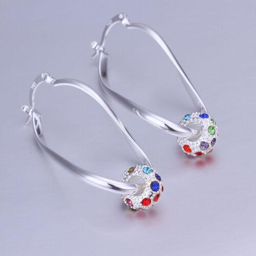 925 Sterling Silver Jewelry Colorful Zircon Boule Femmes Boucles D/'oreilles Créoles EB245