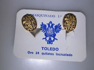 VINTAGE-SPAIN-TOLEDO-24KT-GOLD-DAMASCENE-EARRINGS-N-O-S-MINT