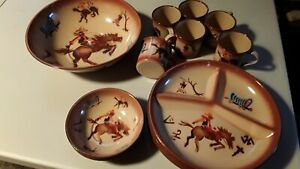1950's Vintage Enamel Cowboy Mugs and Dishes