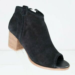 New-Aldo-Black-Suede-Ankle-Boots-Size-8-Womens-Side-Zip-Peep-Toe-Western-nwot