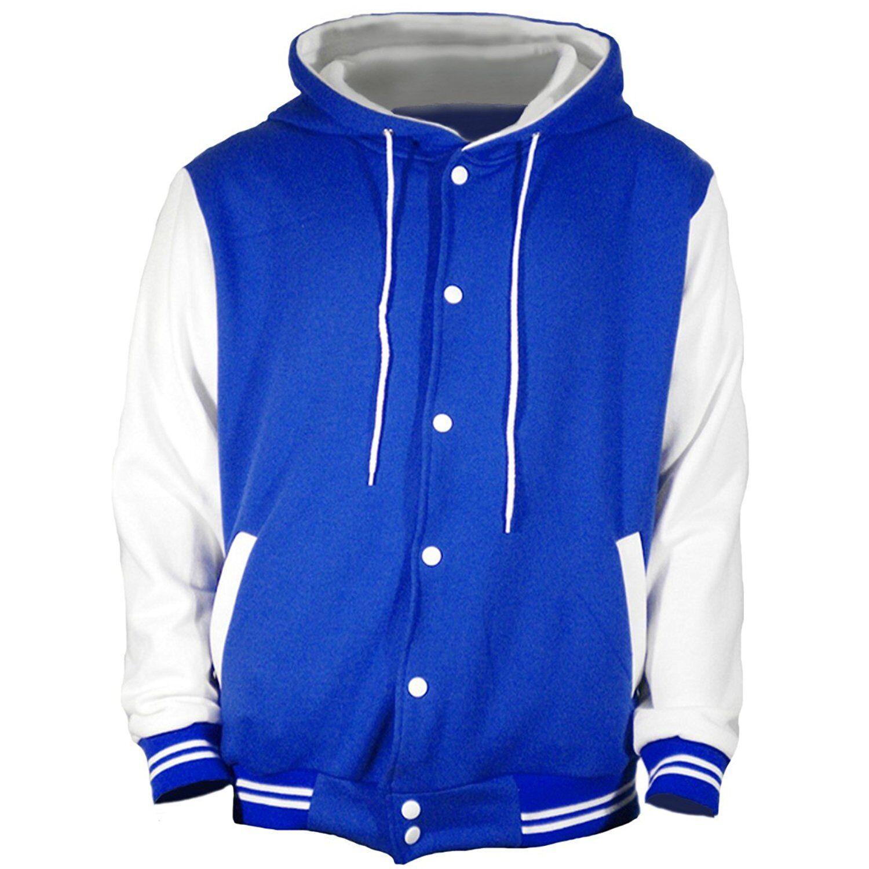 Royal Blau Varsity full  Wool Letterman Hoodie Weiß wool  Sleeves XS-4XL