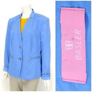 Womens-Basler-Blazer-Jacket-Blue-Zip-Pockets-Cotton-Unlined-Size-UK18-EU44