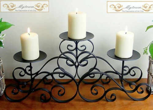 Iron Candle Holder 3 Trays Pillars Table Stand Home Wedding Decoration