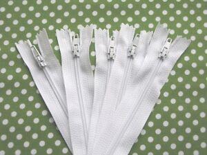 Zips-16-inch-16-034-No-3-nylon-c-end-zippers-in-white-black-cream-green