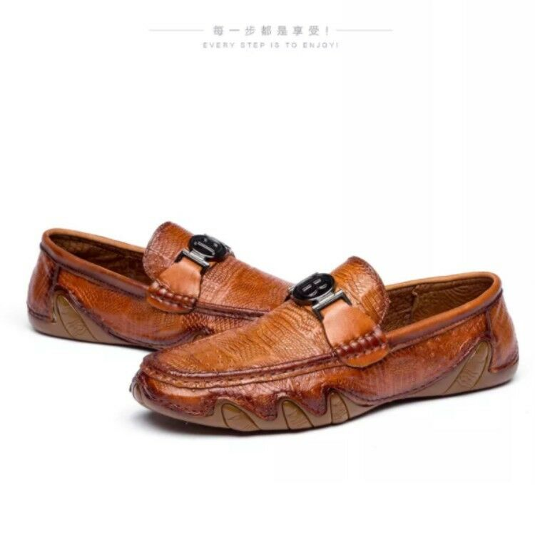 Fashion Luxury Mens Loafers Gommino Leather Flats Heel Driving Comfy Casual shoes