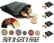 UK SprngCn UNISEX MENS LADIES SOFT BLACK LEATHER COIN POUCH PURSE SNAP WALLET