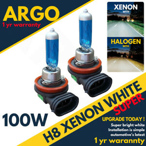 2-X-H8-708-100w-Super-Bright-White-Xenon-Headlight-Front-Fog-Drl-Bulbs-Lamp-12v