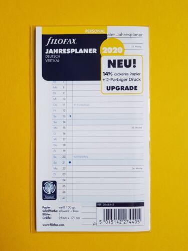 filofax Kalender Einlage 2020 Jahresplaner vertikal 95 x 171 mm  68445 Personal