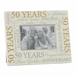 Cream 6 X 4 Photo Frame With Gold Script 50th Wedding