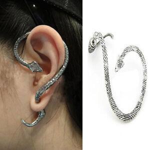 a9dfdd466de8b Details about Vintage Snake Wind Temptation Silver Ear Stud Gothic Punk  Cuff Wrap Earrings JP