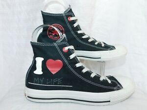 054e87ed53c140 CONVERSE ALL STAR SZ-6 BLACK HIGH TOP PRODUCT RED TENNIS SHOE