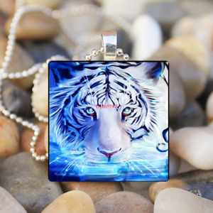 Animal,Lion,Christmas,Gift Cabochon Glass Silver Chain Tile Pendant Necklace