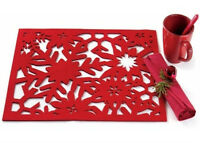 Tag Snowflake Felt Placemats-set Of 4-14.5 X 19 Felted Holiday Design