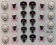 Nail Art 3D Decal Stickers Halloween Skull & Pink Bones Heart GL20