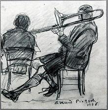 Posaune-Spieler in Tracht im Wirtshaus, Kohle 1926 Richard Pietzsch 1872-1960