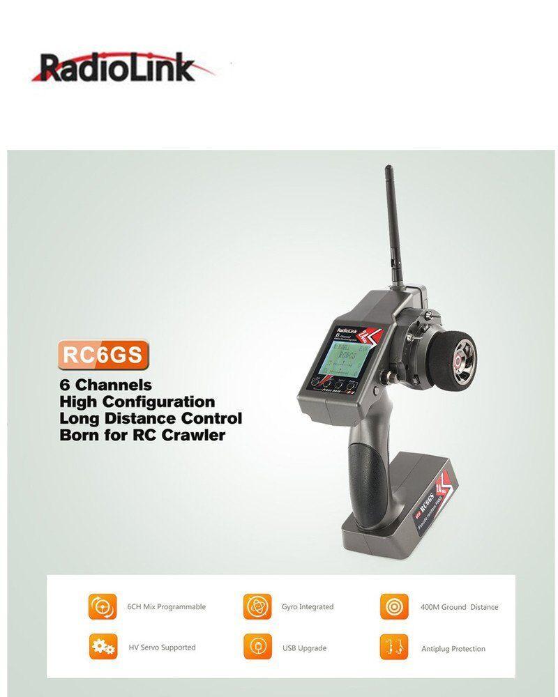 RadioLink RC6GS 2.4G 6CH GYRO Remote Controller R6FG Receiver for Car Boat ModSU