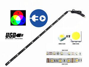 Multi-Colore-RGB-LED-Strip-Light-USB-5-V-50-cm-Monitor-TV-PER-AUTO-IN-ARMADIO-LETTO