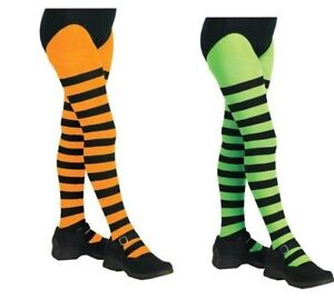 734a2fd550723 Image is loading Girls-Striped-Tights-Yellow-Black-Orange-Pink-Child-