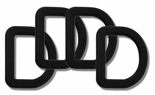 25mm Black Plastic D Rings Rucksack Inner Tent Flysheet Webbing Loops Pack of 6