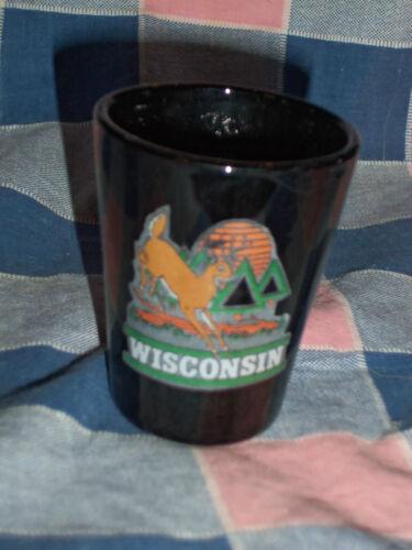 Older Wisconsin shotglass Black Glass Deer Jumping  2 3//8 Inch High Appears Unus