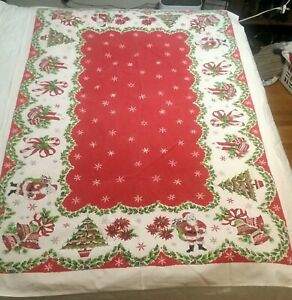 Vintage-Xmas-Tablecloth-Cotton-Santa-Tree-Candles-Peppermint-canes-79-034-54-034