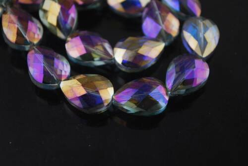 5pcs 18//24mm Faceted Teardrop CRYSTAL glass loose Spacer Beads Jewelry Findings