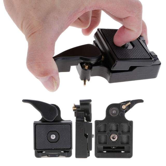 "DSLR Camera Tripod Quick Release Plate Mount Adapter Clamp 1/4"", 3/8"" Screw Hole"