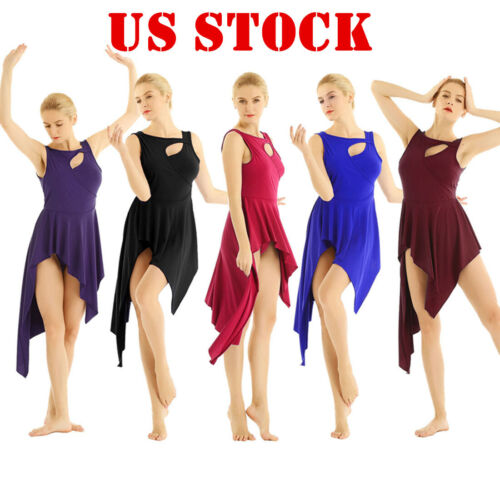 US/_Women Adult Ballet Dance Dress Leotard Irregular Hem Skirt Dancewear Costumes
