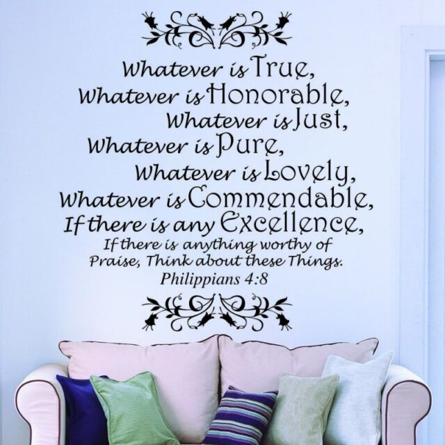 Whatever Is True Philippians 4 8 Bible Verse Wall Art Decal Quote ...