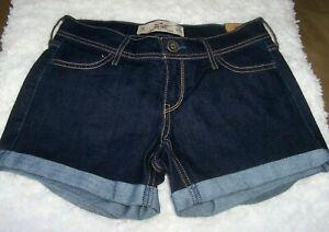 HOLLISTER Midi Short Longest Length Jean Shorts Womens 24 Dark Wash Cuffed NEW