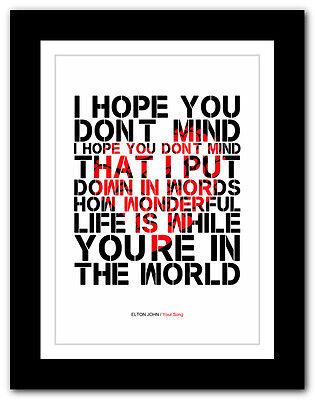 A1 A2 A3 Your Song #3 ❤ song lyrics typography poster art print ❤ ELTON JOHN