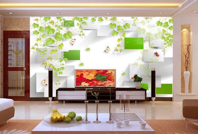 3D Foglie, farfalla Parete Murale Carta da parati immagine sfondo muro stampa
