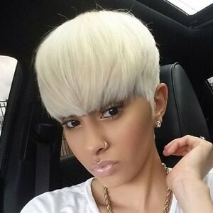 Manly Short Straight Full Bang Platinum Blonde Women S Synthetic