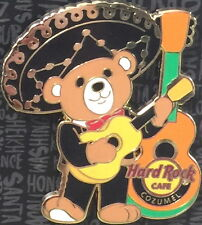 Hard Rock Cafe COZUMEL 2017 Mariachi Teddy Bear with Guitar PIN on CARD LE 300!