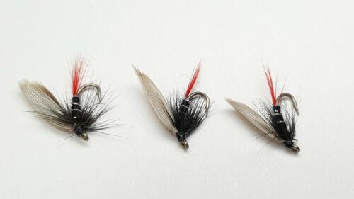 SIZE16 WET TROUT FLIES W312 RED TAIL 3 X BLAE /& BLACK