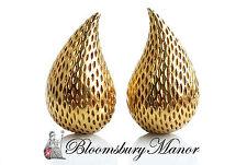 Vintage Tiffany & Co 1960s 18k Yellow Gold Teardrop Earrings 1 inch