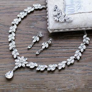 Image Is Loading Crystal Rhinestone Diamond Necklace Pendent Earrings Wedding Prom