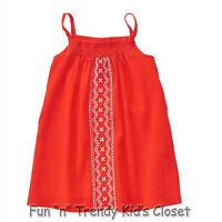 Crazy 8 Girls Size 4t 5t Orange Gauze Button Back Smocked Embroidered Dress