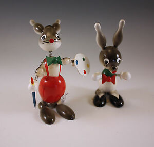 Vintage Goula Spain Lot Of 2 Rabbits Bunnies Bobble Heads