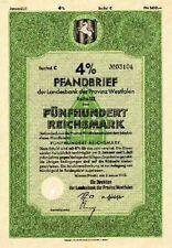 Landes Bank - Prov Westfalen Münster Anleihe 1942 Westdeutsche Landesbank WestLb