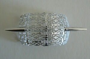 SALE-Filigree-Vintage-Hair-Clip-Pin-West-Germany-Light-Weight-Never-Worn-SilverB