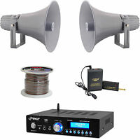Mini Pyle Bluetooth Usb Amplifier, Lavalier Mic Set, 12.7 Horn Speakers, Wiring