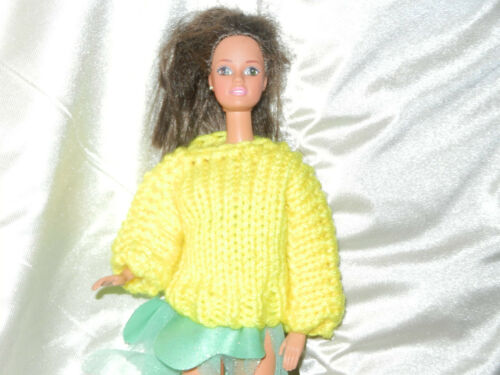 Handmade Sweater fits Barbie and other similar dolls Yellow great ornament too