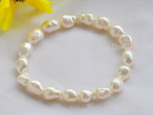 Fashion-8-9mm-Natural-White-Baroque-Freshwater-Cultured-Pearl-Stretch-Bracelet