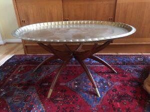 Mid Century Coffee Table Brass Tray Teak Folding Spider Legs Hong