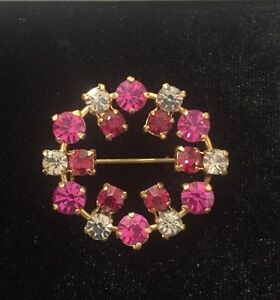 Vintage-Pink-Red-amp-Rhinestone-Pin-Brooch-Totally-Retro