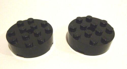 2 x LEGO® 87081 City,System Basisstein in 4x4 Noppen rund schwarz Neuware